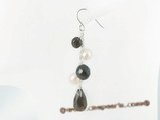 spe255 sterling silver smoking quartze and potato pearl Pierced dangle earrings