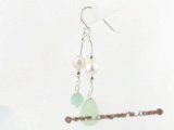 spe256 sterling silver faceted jade and cultured pearl Pierced dangle earrings on sale