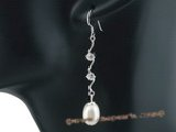 spe274 7-8mm oval drop pearl sterling silver hook earing with zircon