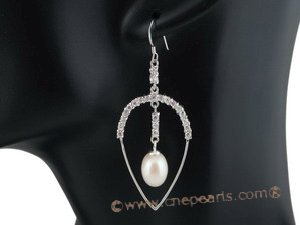 spe277 Pierced oval drop dangle earrings combine with 8-9mm teardrop pearl