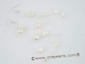 spe278 Handmade white nugget pearl &Austria crystal Illusion earrings