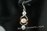 spe284 Stylish sterling silver potato pearl and crystal dangle earrings