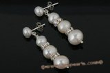 spe297 Triple graduating potato pearl 925silver stud earring