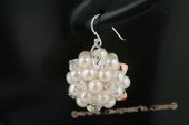 spe312 Exquisite potato pearl and austria crystal ball dangle earrings