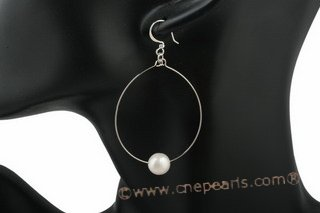 spe314 Delightful 9-10mm off round pearl oval hoop 925silver earrings