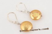 spe315 925silver lever back dangle earring with champagne coin pearl