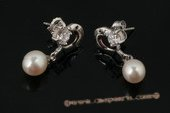 spe334 Drop Cultured Pearl and Zircon Dolphin 925Silver Stud Earrings