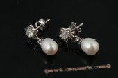 spe335 Drop Freshwater Pearl and Zircon Flower 925Silver Stud Earrings