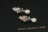 spe339 Sterling silver pierce clip earrings with 8-9mm tear drop pearl