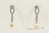 spe352 Freshwater Drop Pearl and Zircon Stud Earrings