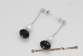 spe370 Elegant Round pearl with Black Agate Long chain Dangle Earrings