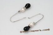 spe372 Lovely Cultured pearl and Black Agate Sterling Silver Dangle Earrings