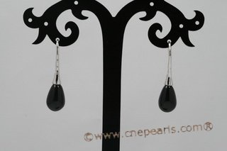 spe376 Elegant Sterling Silver Hook Earrings with 8*12mm Teardrop Agate