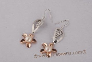 spe411 Delightful 7.5-8mm Bread Pearl 925silver Flower Dangle Earrings