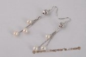spe413 Lovely 6-7mm Rice Pearl Sterling Silver Ball Dangle Earrings