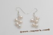 Spe414 Delightful Sterling Silver Cultured pearl Dangle Pierce Earrings