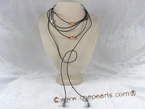 spn002 Black leather thong necklace with shell pearls in 75inch