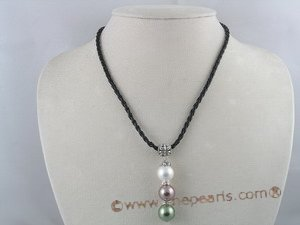 spn008 12mm multicolor shell pearl pendant necklace with black rubber cord