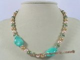 spn019 8mm multicolor shell pearl single neckalce with turquoise beads