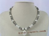 spn020 8mm white shell pearl alternated with silver beads neckalce