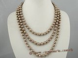 spn027 8mm dark coffee round shell pearl necklace in triple rows