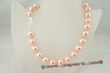 spn030 sterling silver 14mm Rosaline shell pearl single necklace in wholesale