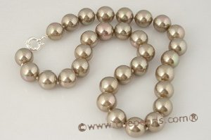 spn031 sterling silver 14mm Bronze shell pearl single necklace in wholesale