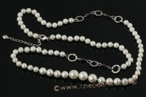 Spn041 Amethyst Crystal and White Shell Pearl Rope Necklace