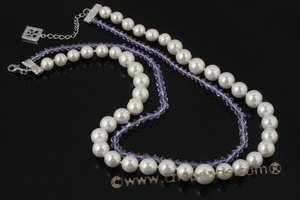 Spn042 White Shell Pearl and Crystal Double Row Necklace