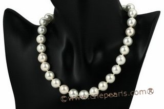 Spn050 Hand knotted 12mm Round Shell Pearl princess necklace