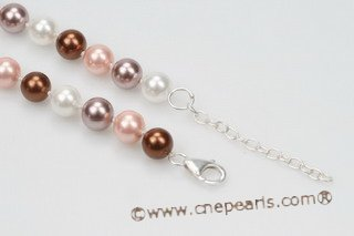Spn052 Hand knotted Colorful Shell Pearl princess necklace