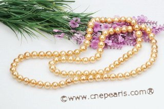 Spn054 Hand knotted 10mm Golden Round Shell Pearl Rope Necklace