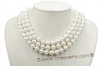 Spn055 Hand knotted 10mm Round Shell Pearl Rope Necklace in White Color