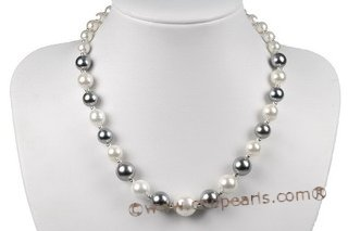 Spn058 Beatiful Gradual Round Shell Pearl Princess Necklace