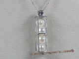 spp018 sterling silver 7-8mm AAA white round pearl cage design pendant