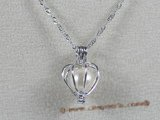 spp023 sterling 7-8mm AAA round pearl Heart design pendant
