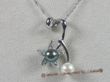 spp024 sterling 8-8.5mm bread pearl pendant with CZ beads