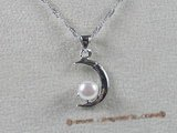 spp025 sterling  white bread pearl crescent pendant
