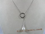 spp038  18inch sterling silver box chain Chain Lariat with 8-9mm ter-drop pearl drop necklace