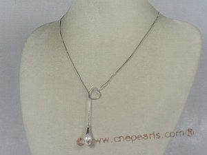 spp041  18inch sterling silver box Chain Lariat with 8-9mm tear-drop pearl drop necklace