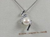 spp044 9-9.5mm white bread pearl pendant with sterling silver mounting