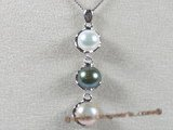 spp050 sterling silver 8-8.5mm multi colour bread pearl pendant