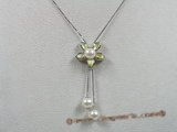 spp052 16inch sterling silver flower design pearl pendant with 7-8mm round pearl