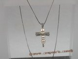 spp055 sterling white bread pearl cross necklace pendant