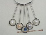 spp062 multicolor pearl circle pendant with 16inch sterling chain