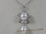 spp064 Sterling silver leafe design freshwater pearl pendant jewelry