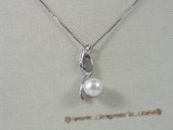 spp066 Sterling silver pendant with 7.5-8mm white bread pearl