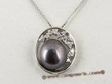 spp078 Sterling silver round Pendant with 10-10.5mmm bread pearl