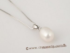 spp093 925silver Pendant neklace dangle with 8-9mm oval drop pearl