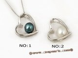 spp099 Sterling silver 6-7mm round pearl heart pendant necklace in wholesale